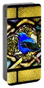 Stained Glass Template Blue Bird Of Happiness Portable Battery Charger