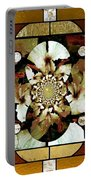 Stained Glass Template Sepia Flora Kalidescope Portable Battery Charger