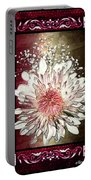 Stained Glass Template White Chrysanthemum Portable Battery Charger