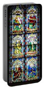 Stained Glass Window Of Santa Maria Del Fiore Church Florence Italy Portable Battery Charger