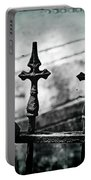 Standing Guard By Loved Ones - Bw Texture Portable Battery Charger