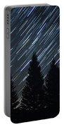 Star Trails And Pine Trees Portable Battery Charger
