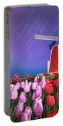 Star Trails Windmill And Tulips Portable Battery Charger
