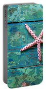 Seashore Peeling Paint - Starfish And Turquoise Portable Battery Charger