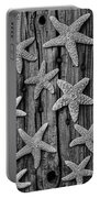 Starfish On Old Wood Black And White Portable Battery Charger