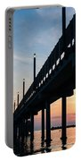 Staring At The Sun - Sunrise On The Beach Portable Battery Charger