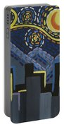 Starry Night Cityscape Portable Battery Charger