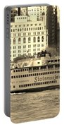 Staten Island Ferry In Sepia Portable Battery Charger