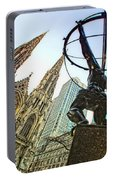 Statue Of Atlas Facing St.patrick's Cathedral Portable Battery Charger