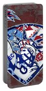 Statue Of Liberty On Stars And Stripes Flag Wood Background Recycled Vintage License Plate Art Portable Battery Charger