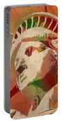 Statue Of Liberty Watercolor Portrait No 1 Portable Battery Charger