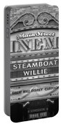 Steam Boat Willie Signage Main Street Disneyland Bw Portable Battery Charger