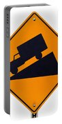 Steep Grade Hill Ahead Warning Road Sign On White Portable Battery Charger