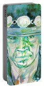 Stevie Ray Vaughan- Watercolor Portrait Portable Battery Charger