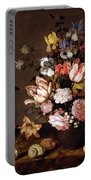 Still Life Of A Vase Of Flowers Portable Battery Charger