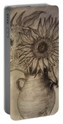 Still Life Two Sunflowers In A Clay Vase Portable Battery Charger