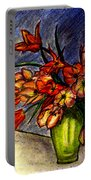 Still Life Vase With 21 Orange Tulips Portable Battery Charger
