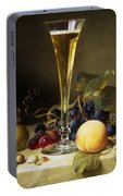 Still Life With A Glass Of Champagne Portable Battery Charger