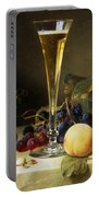 Still Life With A Glass Of Champagne Portable Battery Charger by Johann Wilhelm Preyer