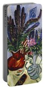 Still Life With A Vase Of Flowers Portable Battery Charger by Ernst Ludwig Kirchner