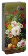 Still Life With Flowers And Fruit Portable Battery Charger by Anthony Obermann