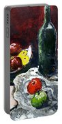 Still Life With Fruits And Wine Portable Battery Charger