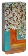 Still Life With White Flowers Portable Battery Charger