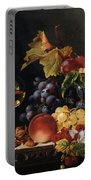 Still Life With Wine Glass And Silver Tazz Portable Battery Charger by Edward Ladell