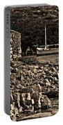 Roman Port Of Sa Nitja In Minorca - Stone And Sea Sephia Version Portable Battery Charger