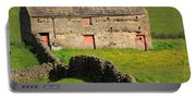 Stone Barn With Red Doors In Swaledale Yorkshire Dales Portable Battery Charger