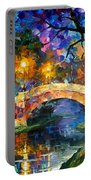 Stone Bridge - Palette Knife Oil Painting On Canvas By Leonid Afremov Portable Battery Charger