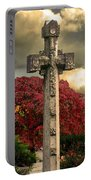 Stone Cross In Fall Garden Portable Battery Charger