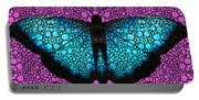 Stone Rock'd Butterfly 2 By Sharon Cummings Portable Battery Charger