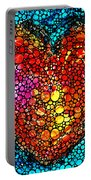 Stone Rock'd Heart - Colorful Love From Sharon Cummings Portable Battery Charger