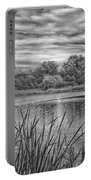 Storm Passing The Pond In Bw Portable Battery Charger