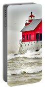 Stormy At Grand Haven Light Portable Battery Charger