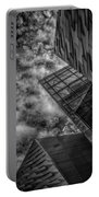 Stormy Clouds Over Modern Building Portable Battery Charger