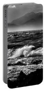 Stormy Coast New Zealand In Black And White Portable Battery Charger