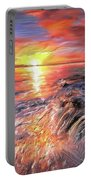 Stormy Sunset At Water's Edge Portable Battery Charger