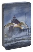 Stormy Weather At The Grand Haven Lighthouse Portable Battery Charger
