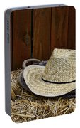 Straw Hat  On  Hay Portable Battery Charger