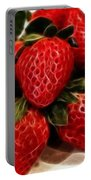 Strawberries Expressive Brushstrokes Portable Battery Charger