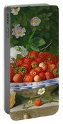 Strawberries In A Blue And White Buckelteller With Roses And Sweet Briar On A Ledge Portable Battery Charger
