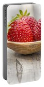 Strawberries In A Wooden Spoon Portable Battery Charger