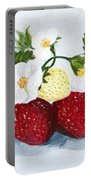Strawberries With Blossoms Portable Battery Charger