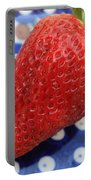 Strawberry On Blue Plate Portable Battery Charger