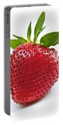 Strawberry On White Background Portable Battery Charger