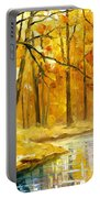 Stream In The Forest - Palette Knife Oil Painting On Canvas By Leonid Afremov Portable Battery Charger