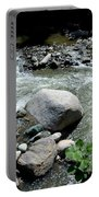 Stream Water Foams And Rushes Past Boulders Portable Battery Charger