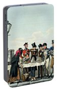 Street Breakfast Engraved By G.hunt Portable Battery Charger